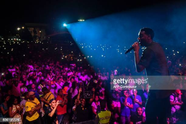 Colombian singer Carlos Tostao Valencia member of the AfroColombian band Chocquibtown performs during the XXI Pacific Music Festival Petronio Alvarez...