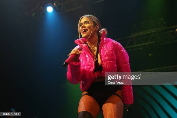 Colombian singer Carolina Giraldo better known by her stage name Karol G during performs during a Karol G and Reykon concert as part of 'Road to...