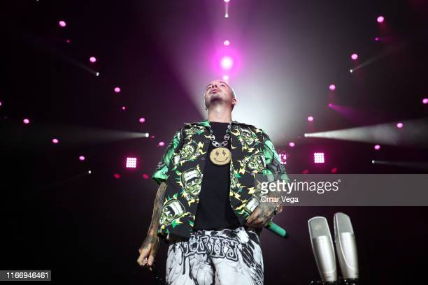Colombian singer J Balvin performs on stage during the Uforia Latino Mix Live Dallas at Dos Equis Pavilion on August 8 2019 in Dallas Texas