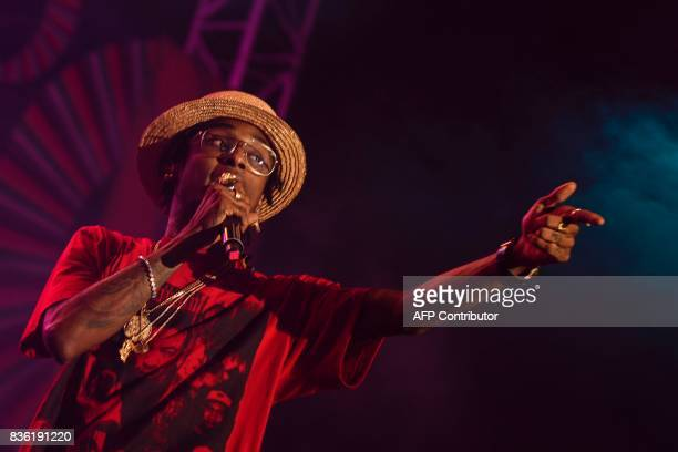 Colombian singer Miguel Slow Martinez member of the AfroColombian band Chocquibtown performs during the XXI Pacific Music Festival Petronio Alvarez...