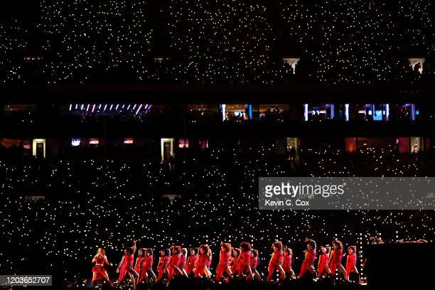 Colombian singer Shakira and a group of dancers perform during the Pepsi Super Bowl LIV Halftime Show at Hard Rock Stadium on February 02 2020 in...