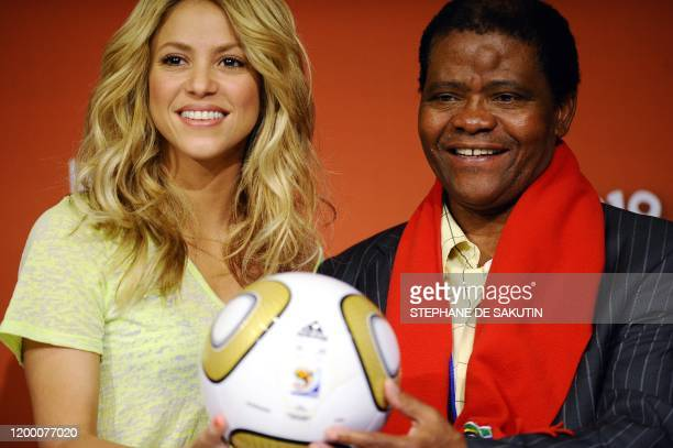 Colombian singer Shakira and Joseph Shabalala music director of Grammy Award winners Ladysmith Black Mambazo and founder of the prize hold the...
