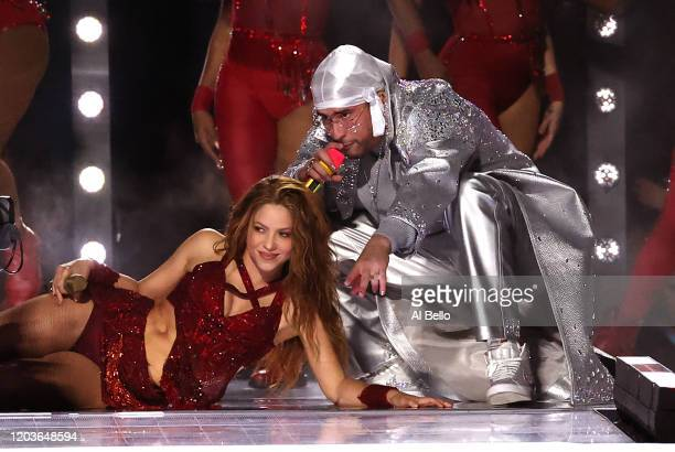 Colombian singer Shakira and Puerto Rican singer Bad Bunny perform during the Pepsi Super Bowl LIV Halftime Show at Hard Rock Stadium on February 02...