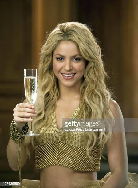 Colombian singer Shakira on set filming 'Freixenet' cava spot at W Hotel on November 24, 2010 in Barcelona, Spain.