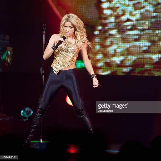 Colombian singer Shakira peforms live during a concert at the O2 World on December 9 2010 in Berlin Germany The concert is part of the The Sun Comes...