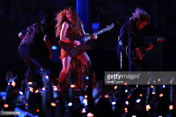 Colombian singer Shakira performs during the Pepsi Super Bowl LIV Halftime Show at Hard Rock Stadium on February 02, 2020 in Miami, Florida.