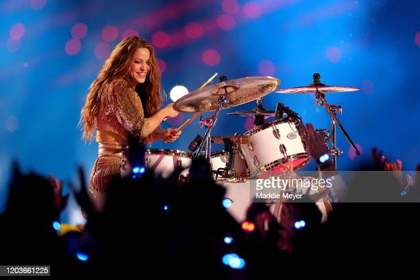Colombian singer Shakira performs during the Pepsi Super Bowl LIV Halftime Show at Hard Rock Stadium on February 02 2020 in Miami Florida