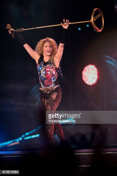 Colombian singer Shakira performs on stage at the Bercy Accordhotels Arena in Paris on June 13 2018 at the Accor Arena Paris / RESTRICTED TO...