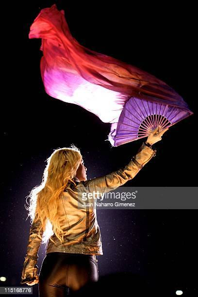 Colombian singer Shakira performs on stage at Vicente Calderon Stadium on June 3 2011 in Madrid Spain