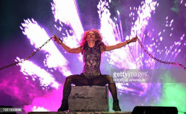 TOPSHOT Colombian singer Shakira performs on stage during her El Dorado World Tour at the Azteca stadium in Mexico City on October 11 2018