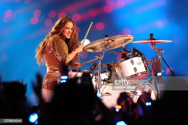 Colombian singer Shakira plays the drums during the Pepsi Super Bowl LIV Halftime Show at Hard Rock Stadium on February 02 2020 in Miami Florida
