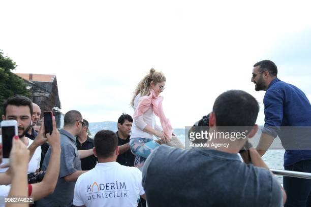 Colombian singer Shakira takes boat out with her children ahead of her concert at Vodafone Park in Istanbul Turkey on July 11 2018 Grammy...