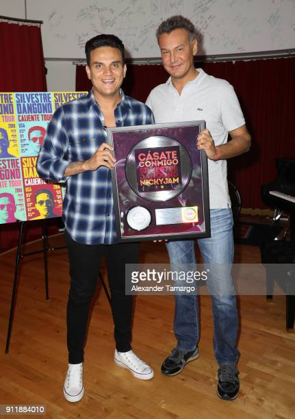 Colombian singer Silvestre Dangond and Walter Kolm visit the Sony Music Latin offices to announce his 'Caliente Tour 2018' for the United States and...