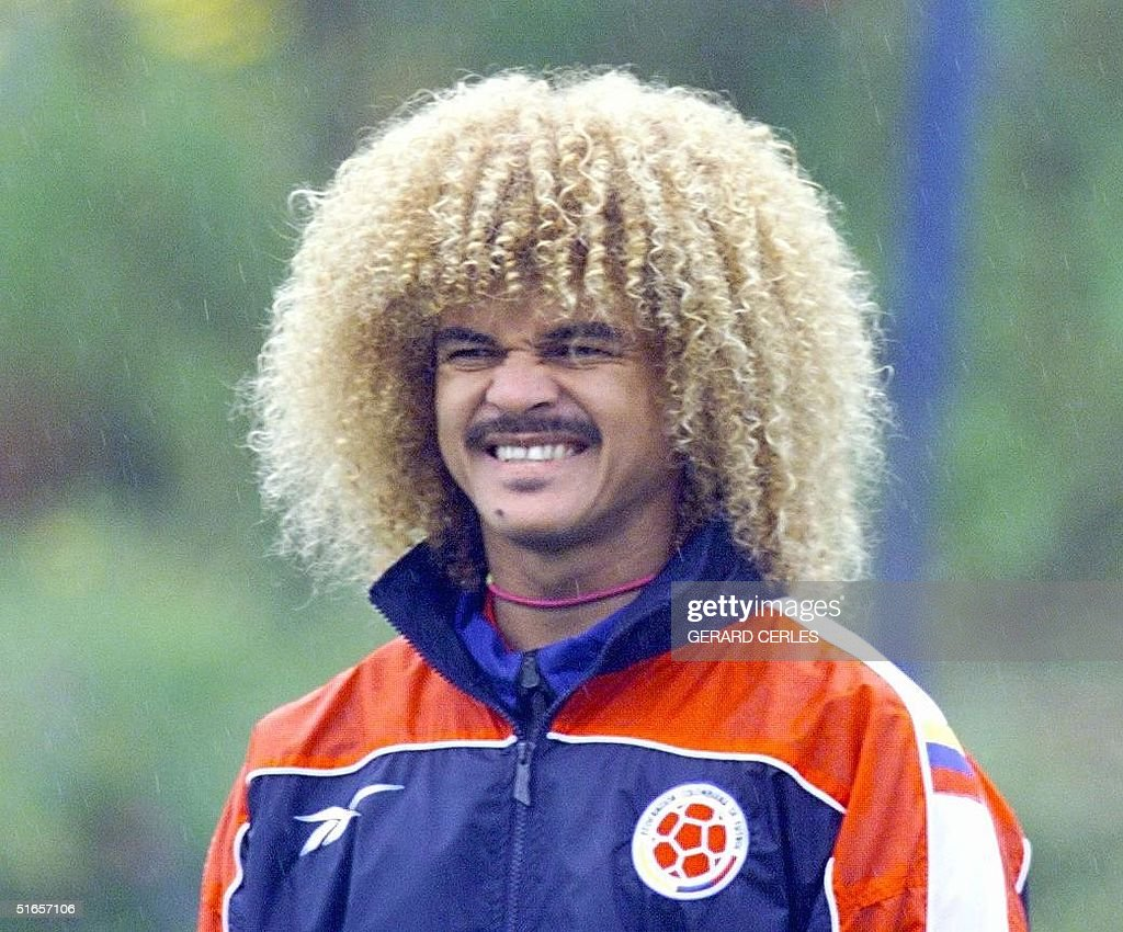 Colombian Soccer Player Carlos Valderrama Looks At Teammates During A Training Session  June In