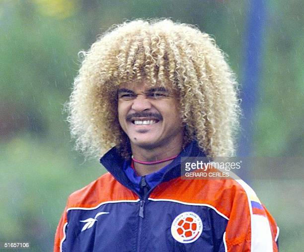 Colombian soccer player Carlos Valderrama looks at teammates during a training session 12 June in La Tour du Pin central France> Colombia will play...