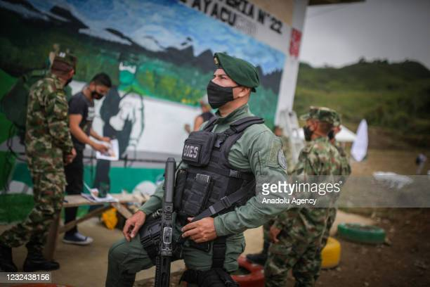 Colombian Soldier is seen heavily armed in El Congal, Caldas, Colombia on April 21, 2020. The events in this village date back to 2002, when...