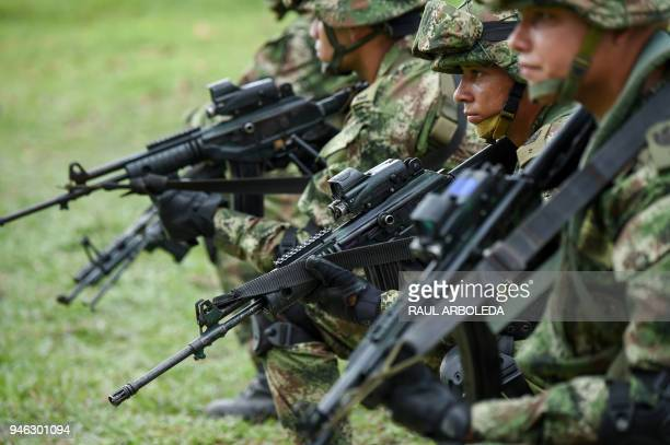 Colombian soldiers train in Tumaco municipality Narino department Colombia on April 14 2018 as they wait to take part in a military operation against...