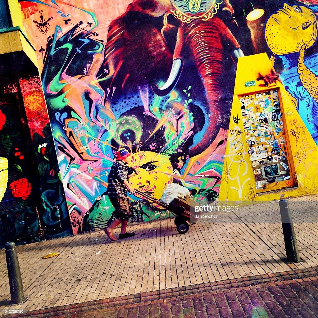 Street art graffiti in bogota news photo