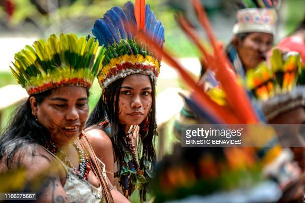 Colombian Tikuna indigenous people attend the Presidential Summit for the Amazon at the National University in Leticia department of Amazonas...