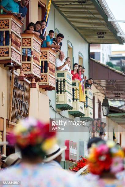 Colombian traditional architecture, village houses, balconies.