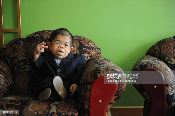 Colombian twenty-four-year-old and 70 centimeters tall Edward Niño Hernandez, the world shortest man as officially certified by the Guinness World...