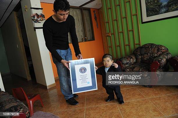 Colombian twentyfouryearold and 70 centimeters tall Edward Niño Hernandez the world shortest man as officially certified by the Guinness World...
