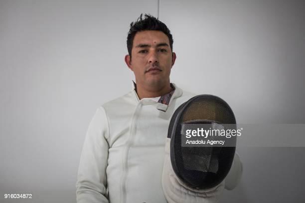 Colombian veteran Alexander Sierra Exmember of the Colombian police victim of the Colombian Conflict who is part of the wheelchair fencing team of...