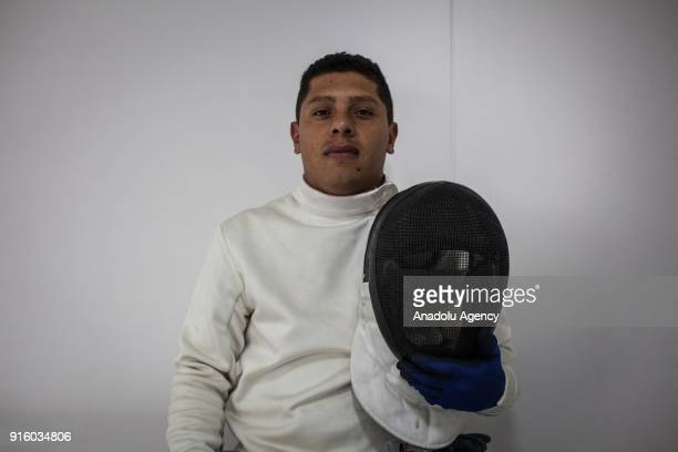 Colombian veteran Jhon Sonza Bedoya Exmember of the Colombian police victim of the Colombian Conflict who is part of the wheelchair fencing team of...