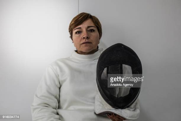 Colombian veteran Rosa Maria Sanchez Exmember of the Colombian Police victim of the Conflict who is part of the wheelchair fencing team of...