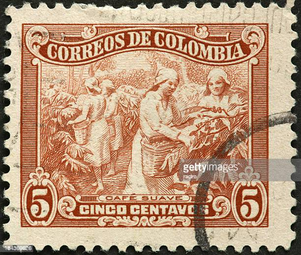 Colombian women harvesting coffee on an old postage stamp