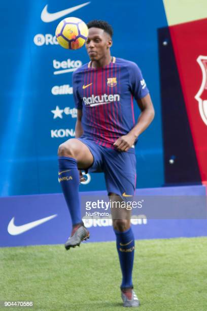 Colombian Yerri Mina presentad as new FC Barcelona player at Camp Nou stadium on Barcelona on January 13 2018