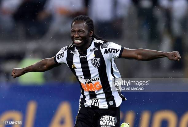 Colombian Yimmi Chara of Brazil's Atletico Mineiro celebrates his goal against Argentina's Colon during a 2019 Copa Sudamericana football match at...