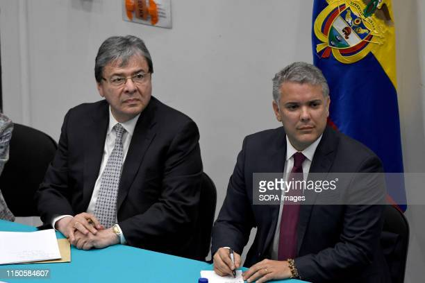 Colombians foreign minister Carlos Holmes Trujillo and Colombians President Ivan Duque seen during a meting with Colombian community at Southbank...