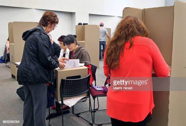 Colombians in Miami Fla vote in the first round of the Colombian presidential elections at MiamiDade Wolfson Campus on Sunday May 27 2018 Even though...