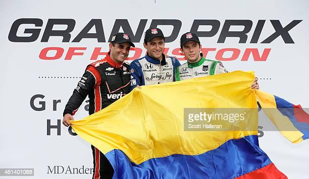 Colombians Juan Pablo Montoyo driver of the Verizon Team Penske Chevrolet Carlos Huertas driver of the Dale Coyne Racing Honda and Carlos Munoz...