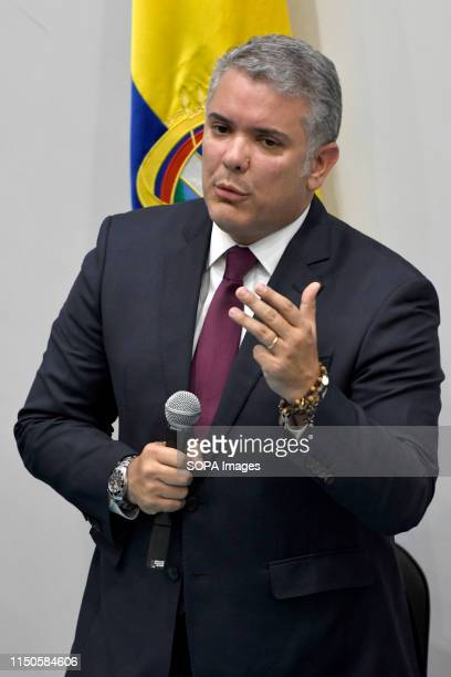 Colombian's President Ivan Duque is seen answering questions from the participants in the event at Southbank University in London Colombian community...