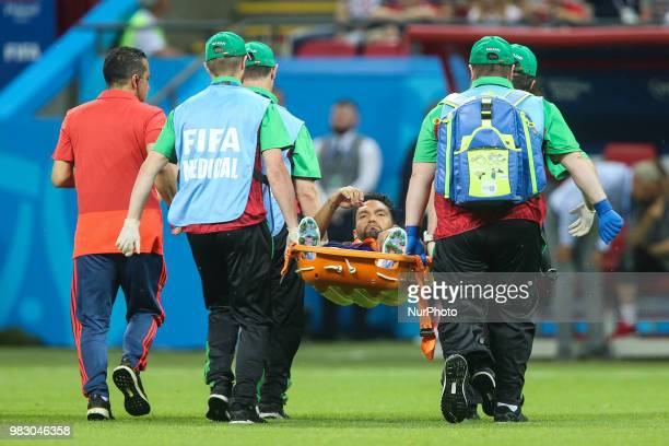 Colombia's Abel Aguilar is carried off the pitch on a stretcher after being injured during the Russia 2018 World Cup Group H football match between...