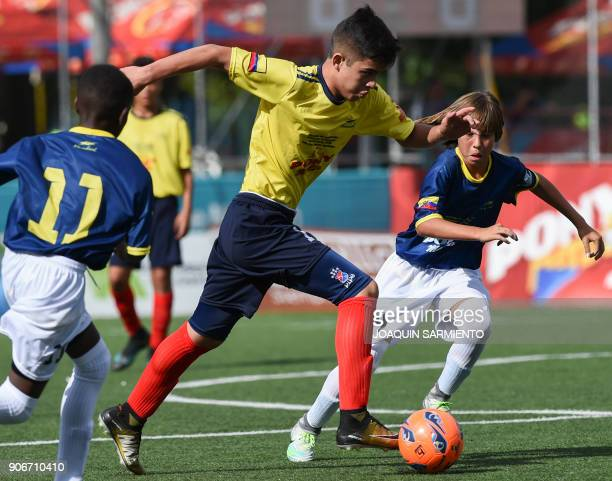 Colombia's Andres Aldana vies for the ball with Ecuador's John Bajana during an under13 friendly match between Colombia and Ecuador in Medellin on...