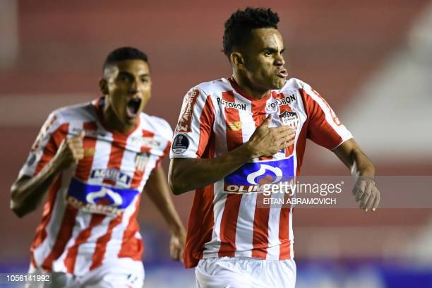 Colombia's Atletico Junior forward Luis Diaz celebrates after scoring against Argentina's Defensa y Justicia during their Copa Sudamericana...