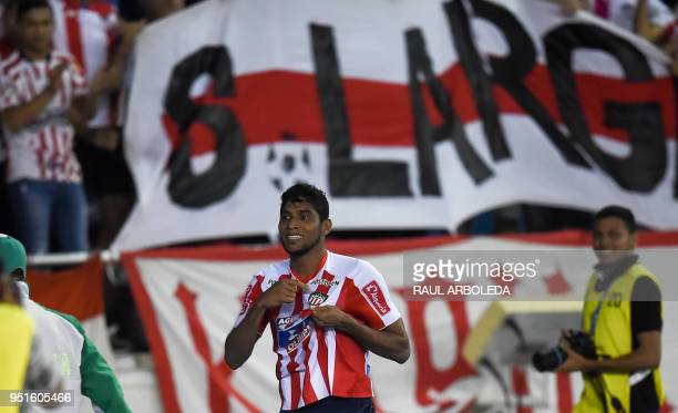 Colombia's Atletico Junior Luis Ruiz celebrates after scoring against Peru's Alianza Lima during their Copa Libertadores football match at the...
