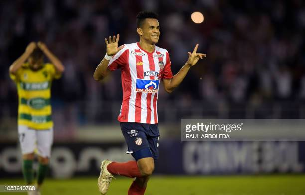Colombia's Atletico Junior player Luis Diaz celebrates after scoring against Argentina's Defensa y Justicia during a Copa Sudamericana football match...