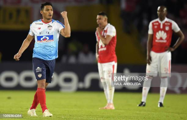 Colombia's Atletico Junior player Teofilo Gutierrez celebrates after scoring against Colombia's Independiente Santa Fe during their Copa Sudamericana...
