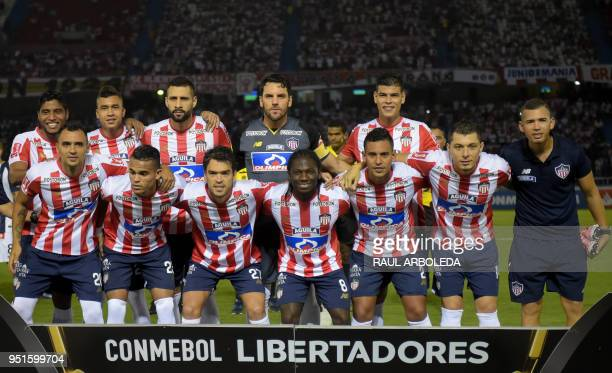 Colombias Atletico Junior players pose for pictures before their Copa Libertadores football match against Peru's Alianza Lima at Roberto Melendez...