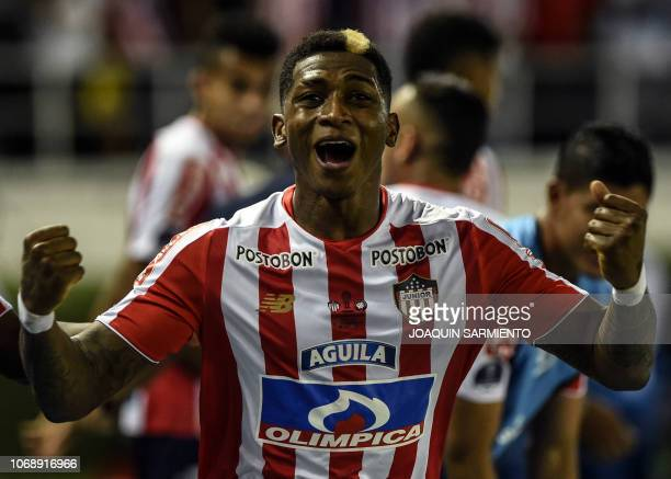 Colombia's Atletico Junior Yony Gonzalez celebrates after scoring against Brazil's Atletico Paranaense during their Copa Sudamericana first leg final...