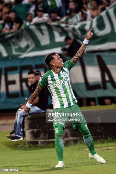 Colombia's Atletico Nacional Dayro Moreno celebrates after scoring against Bolivia's Bolivar during their Copa Libertadores football match at the...