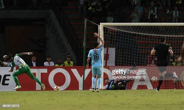 Colombia's Atletico Nacional Dayro Moreno celebrates after scoring against Bolivia's Bolivar during their Copa Libertadores football match at the...