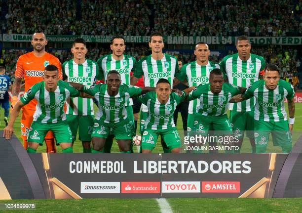 242432547 Colombia s Atletico Nacional players pose before their Copa Libertadores  football match against Argentina s Atletico Tucuman at