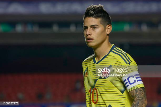 Colombia's captain James Rodriguez is pictured during the Copa America football tournament group match against Qatar at the Cicero Pompeu de Toledo...