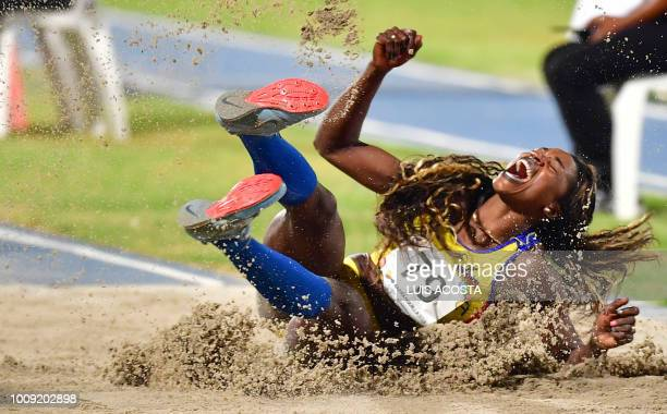 Colombia's Caterine Ibarguen celebrates after winning the women's triple jump competition during the 2018 Central American and Caribbean Games in...