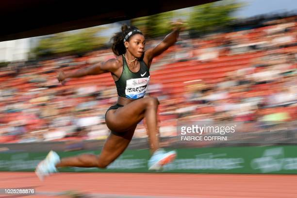 TOPSHOT Colombia's Caterine Ibarguen compete the women's triple jump event during the IAAF Diamond League 'Weltklasse' athletics meeting at the...